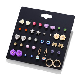 Eyes Bijoux Australia - LUXSHINE Evil Eye Resin Flower Stud Earring Set for Women Gold Color Bowknot Star Cute Korean Earrings 20 Pairs lot Gift Bijoux