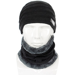 Slouchy Hats For Women Australia - Winter Men Hat And Scarf Set For Women Male Ring Scarves Cap Knit Beanies Slouchy Hat Soft Stretch Cable Skullies Warm Suit 002