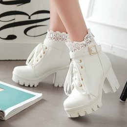 black white large feathers Australia - winter New pattern High-heeled Coarse heel Martin boots Frenulum Waterproof Thick bottom Large code white Women Boots