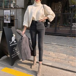 Pengpious new autumn spring high waist elastic jeans fashion women denim trousers classical black grey jeans