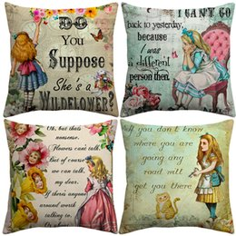 vintage cartoon pillow cases Australia - Vintage Alice in Wonderland Cartoon Letters Cushion Covers Retro Paintings Cat Bunny Cushion Cover Linen Cotton Pillow Case For Kids