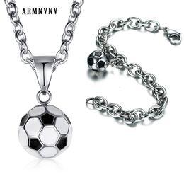 $enCountryForm.capitalKeyWord Australia - wholesale Men Sport Bracelet Necklace Set Stainless Steel Football Pendant and Chain Bracelet Necklace Punk Jewelry Set