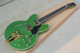Dots For Guitar Australia - Wholesale Green Electric Guitar,Golden Hardwares and HH Pickups,Bigby Tremolo and Dot Rosewood Fretboard,can be Cystomized