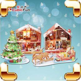 $enCountryForm.capitalKeyWord Australia - Collection Gift Christmas Series 3D Puzzles Model House DIY Building With Christmas Tree & Santa Ride Assemble LED Puzzle Toys