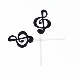 tea music note UK - 6 Pcs Cake Music Note Symbol Paper Banner For Cupcake Wrapper Baking Cup Birthday Tea Party Wedding Decoration