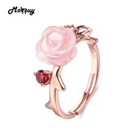 Rose Quartz Rings NZ - Mobuy Mbri025 Special Pink Flower Natural Gemstone Rose Quartz Ring 925 Sterling Silver Gold Plated Adjustable Jewelry For Women Y19051603