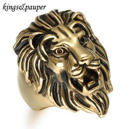 stainless steel lion rings Canada - Titanium Stainless Steel Men Signet Viking Rings Hip Hop Vintage Punk Engrave King Animal Lion for Male Hiphop Charms Jewelry