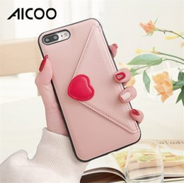 Love Cards Australia - AICOO Love Envelope Mobile Phone Cases with Card Pocket Fashion Cute Full Protection Phone Case for iPhone XS MAX XR X OPP