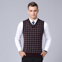 v neck sleeveless men cotton Australia - Fashion Sweater Homme Vest Sleeveless Cardigan Classic style Cotton Male Keep Warm V-Neck Smart Casual men Plaid
