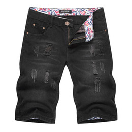 New Style Summer Denim Shorts Mens Black Five Point Trousers European And American Baggy Ripped Jeans