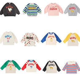 LoveLy korean cartoon girL online shopping - 2019 Bebe de Pi Korean Boys Girls Fall Clothes Toddler Long Sleeve TShirt Lovely Cartoon Letter Print Tops Baby TshirtMX190916