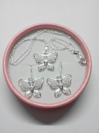 $enCountryForm.capitalKeyWord NZ - 2019 new Fashion plated 925 Sterling Silver Butterfly Pendant Necklaces Earrings Butterfly Jewelry Sets for Women 12 Set lot