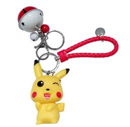 $enCountryForm.capitalKeyWord Australia - Cartoon Cute Pikachu Ball Keychains Animal Keyring Bell Key Chain Handbag Key Ring Kid Toy Pendant Phone Straps