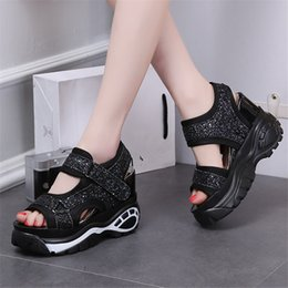 $enCountryForm.capitalKeyWord NZ - Hot Sale-Fish Mouth Muffin Bottom Women's 2019 Summer New Sequins Korean Version of The Wild Increase Sneakers Roman Slope with Thick Sandal