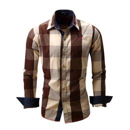 Mens Long Sleeve Red Polo Australia - New Fashion Men's Polo Shirts Long Sleeve Casual Shirt Tops Cardigan Plaid Plus Size Clothing Mens Shirt 4 Colors Wholesale