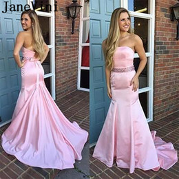 $enCountryForm.capitalKeyWord Australia - JaneVini Satin Pink Mermaid Prom Dress Long Beaded Waist Sexy Sweep Train Evening Pary Dresses Gowns Strapless Robe De Bal Femme 2019