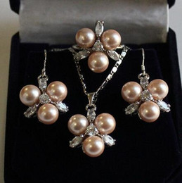 $enCountryForm.capitalKeyWord Australia - Wedding fast shipping>> Fashion 8mm Coffee Shell Pearl Earring Pendant Ring 7 8 9 Jewelry Set