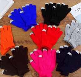 $enCountryForm.capitalKeyWord Australia - Women Warm Gloves Winter Men Colorful Touch Screen Phone Gloves for Girls Knitted Five Fingers Wrist Gloves Xmas Gifts 7 Colors
