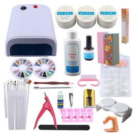 Uv Block Australia - Manicure Set UV Gel Nail Polish For Nail Art Tools 36W UV Lamp Buffing Block False French Tips Nails File Set Extension Kit