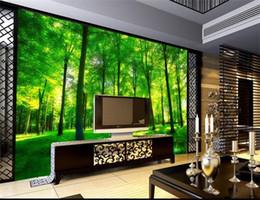 SunShine houSe online shopping - Custom size d photo wallpaper mural living room bed room woods sunshine scenery picture sofa TV backdrop wallpaper mural non woven sticker