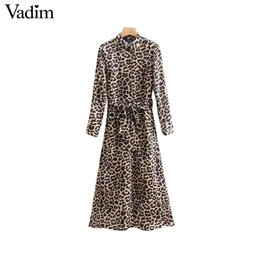 $enCountryForm.capitalKeyWord Australia - women leopard print ankle length dress bow tie sashes long sleeve retro ladies casual chic dresses vestidos QA472