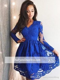 $enCountryForm.capitalKeyWord NZ - New Royal Blue Homecoming Dress Long Sleeves V Neck Full Lace Long Sleeve Short Cocktail Party Dress Gorgeous Mini Prom Cheap Evening Gowns