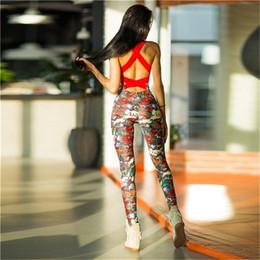Toptan satış Çiçek baskı yastıklı one piece seksi yoga set spor giyim suit backless spor koşu sıkı dans spor giyim spor giyim # 680737