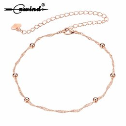 anklet NZ - Tiny Ball Foot Feet Ankle Chain Anklet Bracelet Women Girl Charm Rose Gold Alloy Fashion Summer Jewelry Cxwind