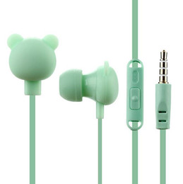 best iphone handsfree Canada - Best Cute Bear Earphones Colorful Cartoon Studio In-ear Handsfree with Mic Button Remote 3.5mm Headsets for iPhone Samsung Huawei Xiaomi