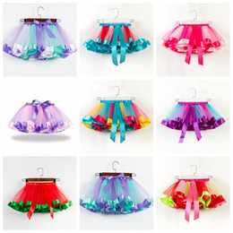 Girls ruffled tutu skirts online shopping - 19 colors baby girls tutus rainbow color girl tutu skirts with bow kids mesh cake layer performa dresses fit years