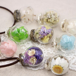 jewel chains Australia - Dried Flower Necklace Glass Cover Eternal Flower Time Jewel Mori Girl Sweater Long Chain DJN322 mix order Pendant Necklaces jewelry