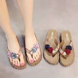 2893f12e26bd Summer Bohemia Slippers New Fashion Clip Toes Flip Flops Flower Womens  Sandals Casual Beach Slippers Platform Wedges Shoes