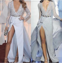 Long sLeeve keyhoLe prom dress online shopping - blue beaded evening dresses long sleeve mermaid elegant evening gowns robe de soiree sexy formal dresses vestido de longo
