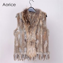 $enCountryForm.capitalKeyWord Australia - 18 Colors Women Genuine Knitted Rabbit Vests With Tassels Raccoon Fur Trimming Waistcoat Wholesale Drop Shipping Vr032MX190821