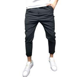 Discount khaki yoga pants - Men Linen Pocket Yoga Plus Size Cotton Casual Trouser Ninth Length long length Drawstring Sweatpants Spring Autumn Pants