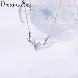 $enCountryForm.capitalKeyWord UK - DreamySky Bohemia 925 Sterling Silver Stone Necklaces Pendants For Women Ladies Long Antlers Statement Necklaces Wedding Jewelry
