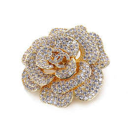 copper coatings NZ - Hot Brand luxury Handmade camellia brooch crystals Rhinestones Valentine's Day gift Bridal Jewelry for Party evening dress coat pins accesso