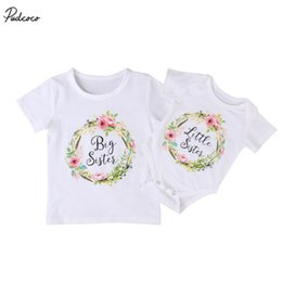 $enCountryForm.capitalKeyWord Australia - Family Clothing Set Baby Kids Girls 2017 New Little Big Sister Short Sleeve Clothes Jumpsuit Romper Outfits T Shirts