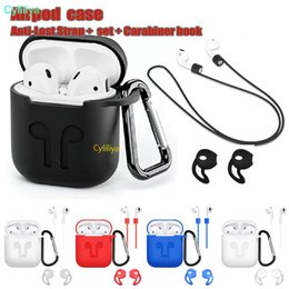 pouch for headphones Canada - For Apple Airpods Silicone Case Protector Cover Sleeve Pouch with Anti Lost Rope for Air Pods Bluetooth Headphones Earphones Case