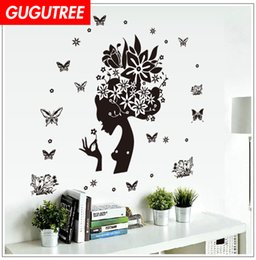$enCountryForm.capitalKeyWord Australia - Decorate Home girl belle buttlefly cartoon art wall sticker decoration Decals mural painting Removable Decor Wallpaper G-2675
