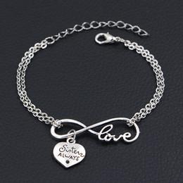 $enCountryForm.capitalKeyWord Australia - 2019 Minimalist Silver Color Double Infinity Love Sister Always Best Friends Pendants Charm Bracelets For Women Men Chain Friendship Jewelry