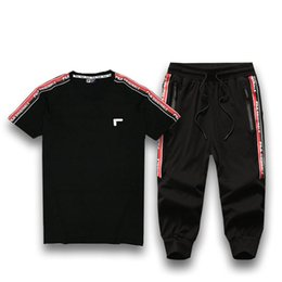 Active Suit Australia - Active Style Tracksuits for Mens 2019 Summer Explosion Casual Short Sleeve Tops + Pants Two Piece with Embroid Printed Women Sport Suits