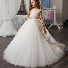 Sheath romantic wedding dreSSeS online shopping - New romantic wear flower boy s birthday dress flower girl long dress female wedding girl presided at the banquet