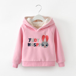 Cartoon Rabbit Hoodies NZ - Thick Warm Girls Sweatshirt Winter Kids Hoodies for Girls Cartoon Rabbit Ear Children Tops Clothing Cotton Padded Kids Clothes