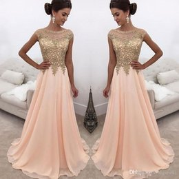 $enCountryForm.capitalKeyWord NZ - Chiffon Sheer Jewe Neck Gold Lace Appliqued Long A Line Prom Dresses Cap Sleeves Formal Party Wear Formal Evening Dresses Custom Made