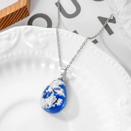 clear resin pendant NZ - Bohemia Style Blue Sky White Clouds Eagle Pattern Clear Resin Women Pendant Necklace Water Drop Shaped Lovers Necklace Jewelry