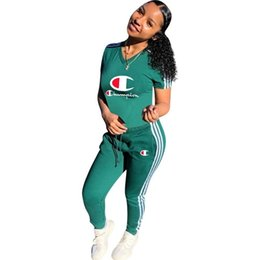 Ruffled Sleeve Sweatshirt NZ - Champion Womens outfits short sleeve tracksuit 2 piece set jogging sportsuit shirt leggings outfits sweatshirt pants sport suit
