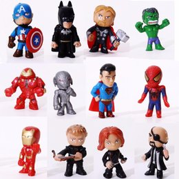 Wholesale 12pcs The Avengers Miniatures Marvel PVC Action Figures Spiderman Figurines Kids Toys hulk Captain America superman batman