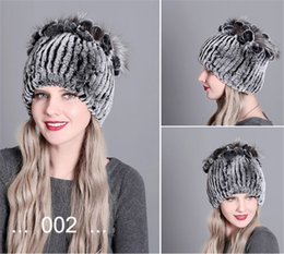 beautiful silky hair Canada - Noble True Rabbit Hair Beanie Warm Winter Fur Hat Striped Thick Silky Skull Caps Beautiful Knitted Beanie