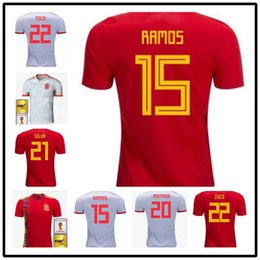 4550cd48b26 AAA 2018 World Cup Spain A.INIESTA Soccer Jerseys ISCO DIEGO COSTA Home Red  Jerseys National Team ASENSIO PIQUE Away White Men Football